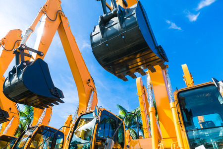 Vehicle fleet with construction machinery of building or mining company Banque d'images