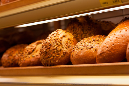 pastry shop: Fresh bread in the display of a bakery Stock Photo