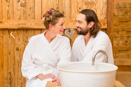bath gown: Couple at wellness spa enjoying romantic trip