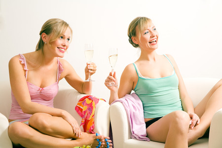 mingle: Two Blonde girls spending some girl time with each other Stock Photo