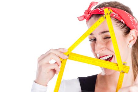doityourself: Woman having fun with home improvement