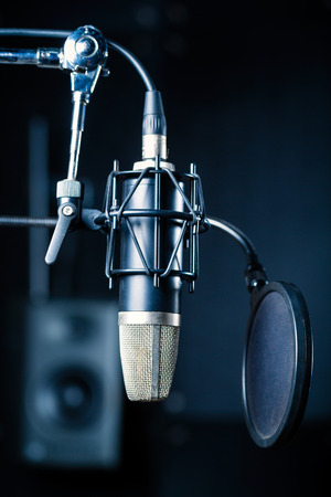 micro recording: Professional microphone with capacitor or condenser in recording studio