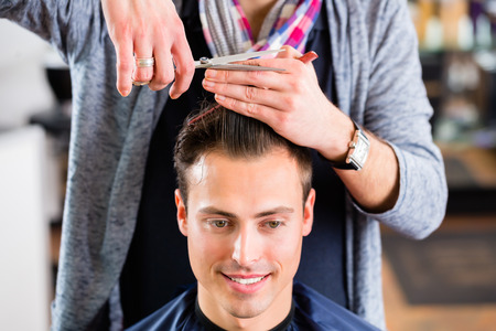 haircutter: Barber trimming man hair in haircutter shop