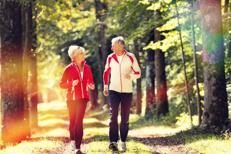 exercises: Senior Couple doing sport outdoors, jogging on a forest road in the autumn