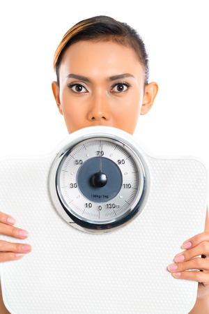 woman on scale: Asian woman with weight scale loosing weight