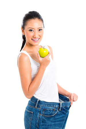 reminding: Asian woman losing weight with diet