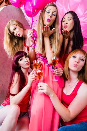 bachelorette party: Women having bachelorette party in night club