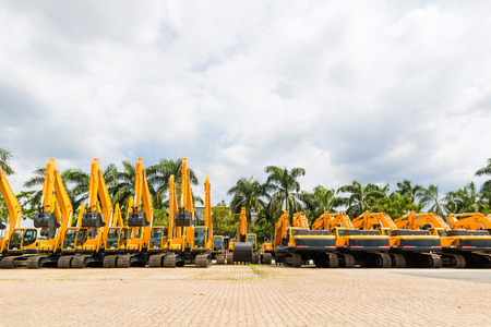 heavy equipment: Asian Vehicle fleet with construction machinery of building or mining company