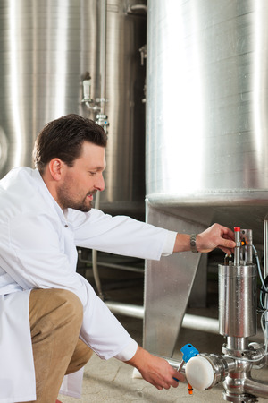 brewer: Brewer de pie en su f�brica de cerveza y est� examinando la cerveza por su pureza