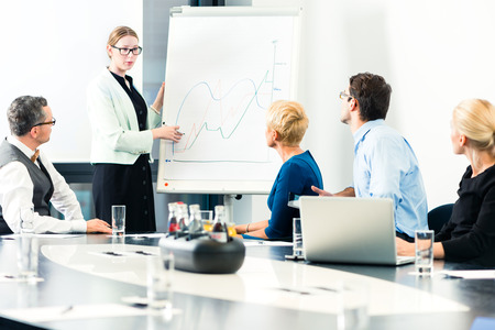 counsel: Business - presentation within a team, a female colleague is standing on the flipchart and explaining the development