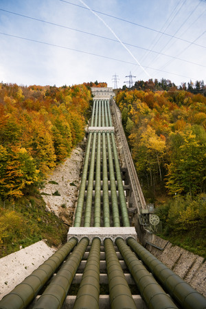 hydropower: Pumped storage hydropower plant in Kochel am See, Bavaria, in autumn