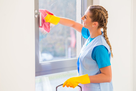 Cleaning lady with cloth at window