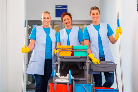personal de limpieza: Servicio de limpieza en el trabajo, las mujeres de árboles en el trabajo en equipo Foto de archivo