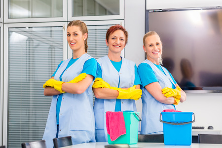 anuncio publicitario: Brigada de limpieza que trabaja en oficina