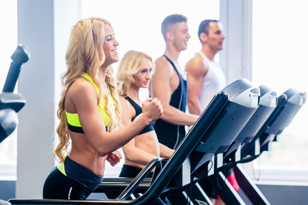 Treadmill group, men and women, exercising in fitness gym