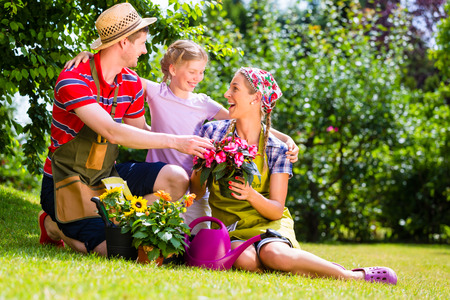family gardening: Family gardening in Garden having fun