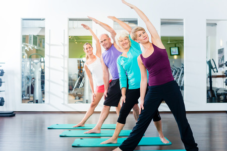 health elderly: Group of senior people and young woman and men in fitness gym doing gymnastics