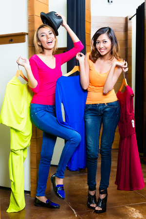 adult indonesia: Crazy best friends, two girls, having fun shopping