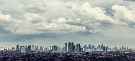 kampung: Jakarta city view with Kampung in foreground Stock Photo