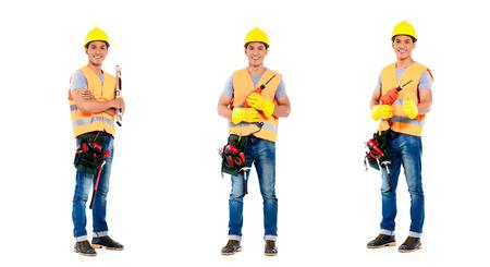 ouvrier: Travailleur de la construction en Asie, compositing de trois scènes, isolé sur fond blanc