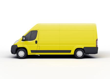 黄色の配達用トラックやバン、白い背景のレンダリング