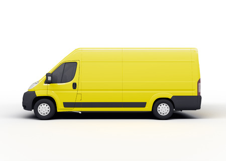 Yellow delivery truck or van, rendering, on white background