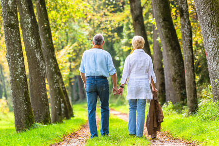 h�ndchen halten: Couple of �ltere Frau und Mann Hand in Hand mit einem Spaziergang im herbstlichen Wald