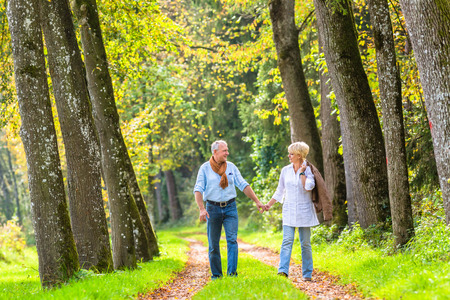 walk in: Senior woman and man, a couple, embracing each other having walk in the fall forest