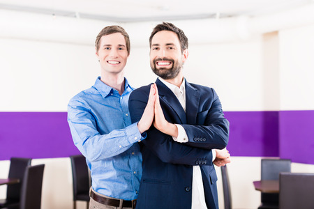 Gay couple in dance class learning Stock Photo