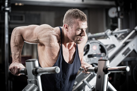 man arm: Bodybuilder man in gym doing dips as arm training Stock Photo