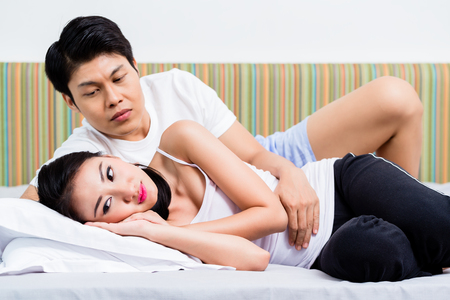 rejecting: Chinese couple having marital issues heading for divorce, the woman is rejecting her man