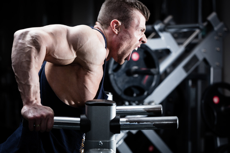 Bodybuilder man in gym doing dips as arm training Stock Photo