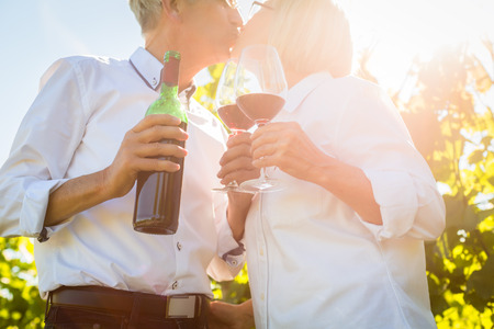 Senior couple toasting with wine glasses in vineyard, woman and man toasting each other photo