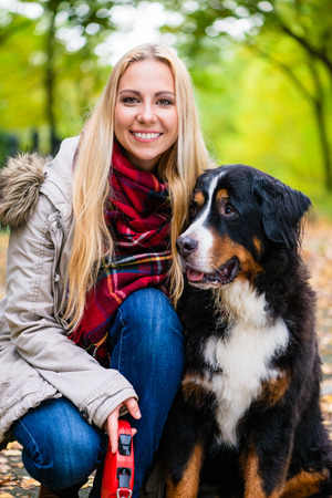 bernese mountain dog: Woman cuddling with Bernese mountain dog in autumn park with colorful foliage, close up shot on head Stock Photo