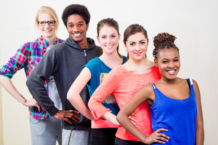 jazz dance: Group of young people having dance lessons Stock Photo