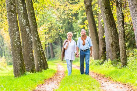 ancianos caminando: Superior de la mujer y el hombre, una pareja, abrazándose tiene caminata en el bosque de la caída