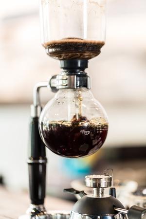 coffee maker: Drip coffee machine in super hip coffee shop Stock Photo