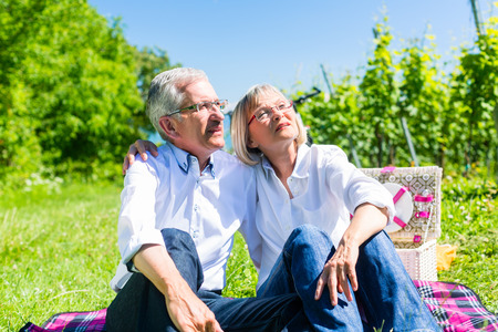 couple nature: Senior woman and man having picnic on meadow in summer sitting in the sunlight