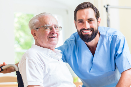 old carer: Senior man and nurse in rest home