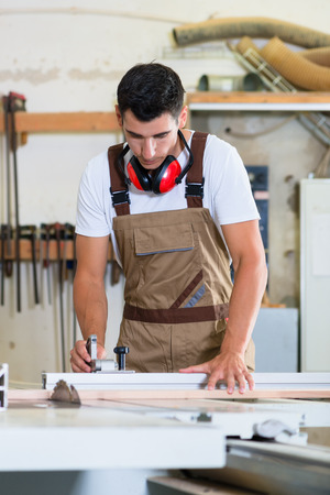 cabinet maker: Carpenter or cabinet maker in his wood workshop Stock Photo