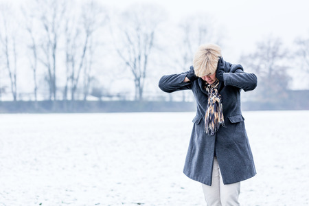 affective: Senior woman with burnout in winter