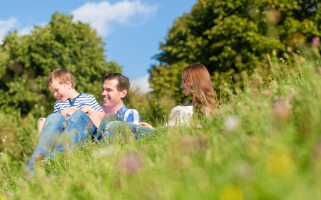 huddling: Family cuddling sitting on meadow in summer Stock Photo