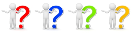 questioning: 3D Rendering of man with question mark - different colors