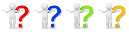 interrogativa: Representaci�n 3D del hombre con signo de interrogaci�n - diferentes colores Foto de archivo