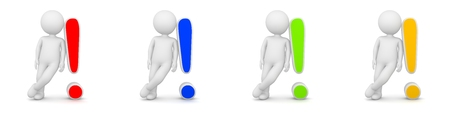 little man: 3D Rendering of man with exclamation mark having answer - different colors Stock Photo