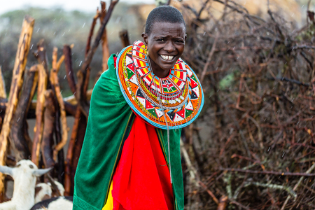 Massai woman standing in her village Standard-Bild