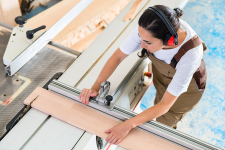 cabinet maker: Carpenter woman working in her workshop Stock Photo
