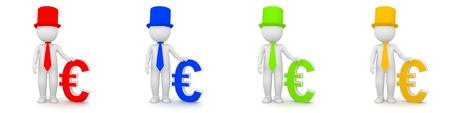 3D Rendering of man with Euro currency as banker - different colors