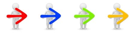 3D-Rendering von Menschen mit Pfeil nach rechts - in verschiedenen Farben