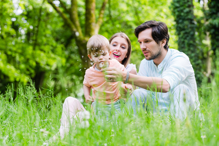 blowing dandelion: Family with son on meadow blowing dandelion seed